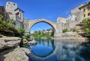 Walk over the river Neretva in Mostar