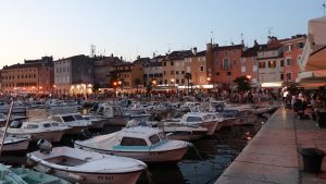 Enjoying the city of Rovinj and the port at evening